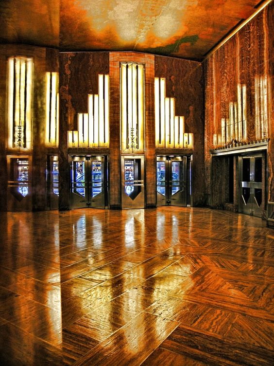 The lobby of the Chrysler Building, 1930.  My favorite building that I worked in. Th now defunct Bates USA had their offices there.