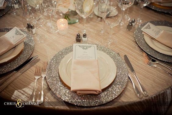 wedding place setting #glitter #neutral
