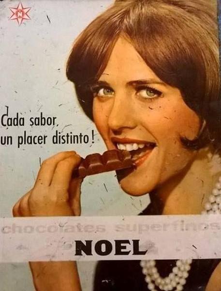 Chocolates NOEL, década del 60. Modelo, Claudia Sánchez.: