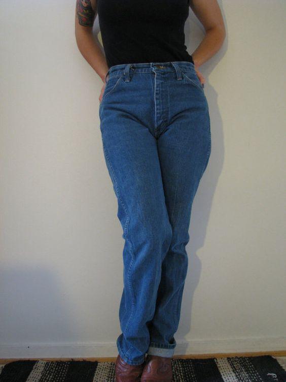 80s high waisted wrangler jeans made in usa m w28 l32 vintage cowgirl denim western. Black Bedroom Furniture Sets. Home Design Ideas