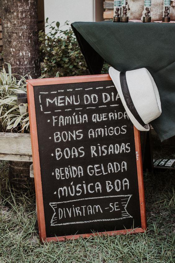 Quadro: Menu do Dia. Chá-Bar Nate & Cabral - 02.06.18 #cha #bar #chabar #decoração #openhouse #chadepanela #rustico #menu #prewedding