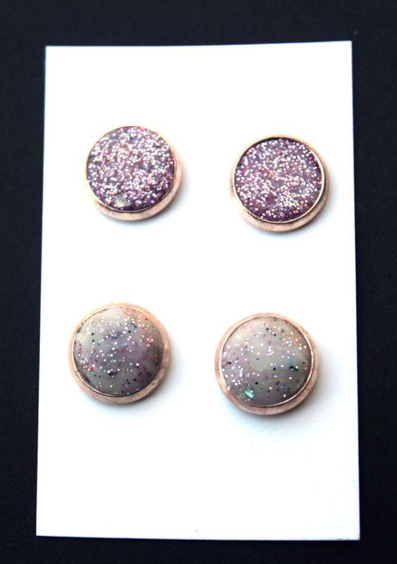 Stud Earring Set / Rose Gold Stud Set / Rose by TotheNinesJewelry