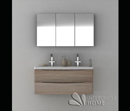 Meuble de salle de bain suspendu en bois avec double for Meuble vasque salle de bain suspendu