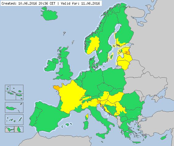 Valid for 11.06.2016 Meteoalarm - severe weather warnings for Europe - Mainpage