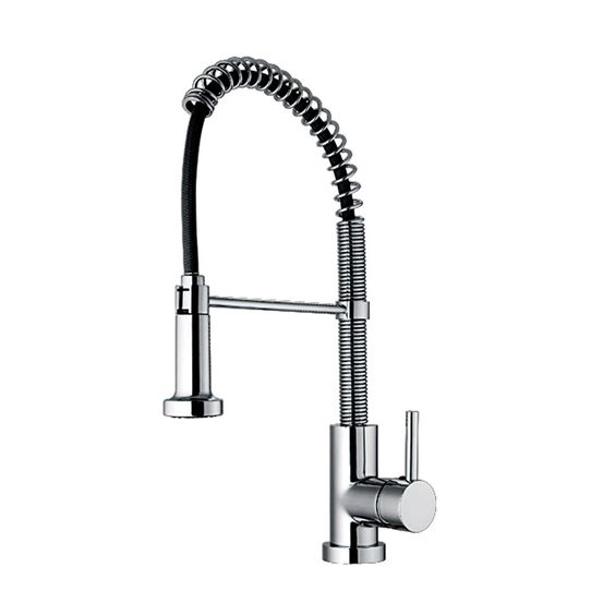 Jem Collection commercial single hole faucet with flexible spout, pull down spray head, swivel support bar, and lever handle
