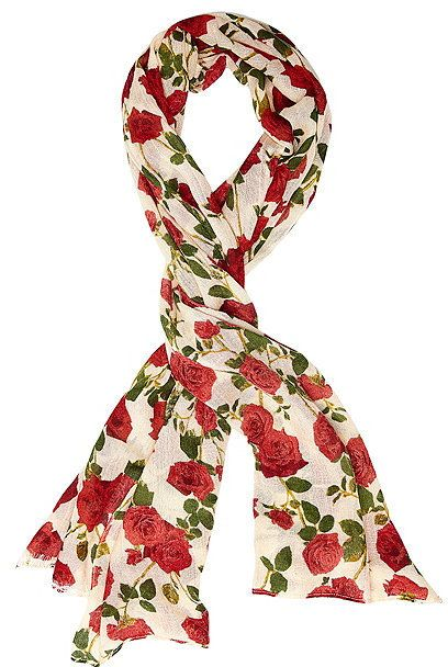 Roses Are Red Lace Trimmed Scarf $48 At Betsey Johnson Lovely rose print floral scarf with lace trim, feminine woven scarf https://api.shopstyle.com/action/apiVisitRetailer?id=603144005&pid=uid841-37799971-81