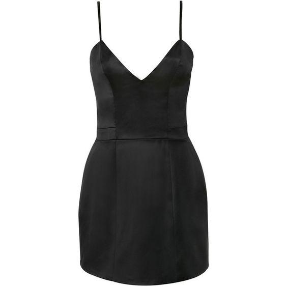 'Luigia' Black Satin Bralet Tulip Dress via Polyvore