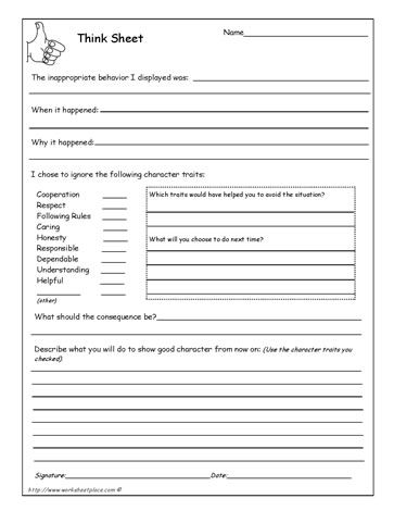 Behavior Think Sheet. I used something similar to this with some of my students who needed time away from the situation to settle down before discussing the problem with me.