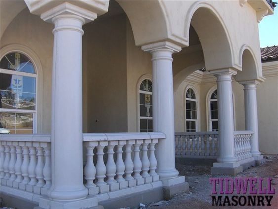Baluster for porches front porch with a precast for Concrete patio railing