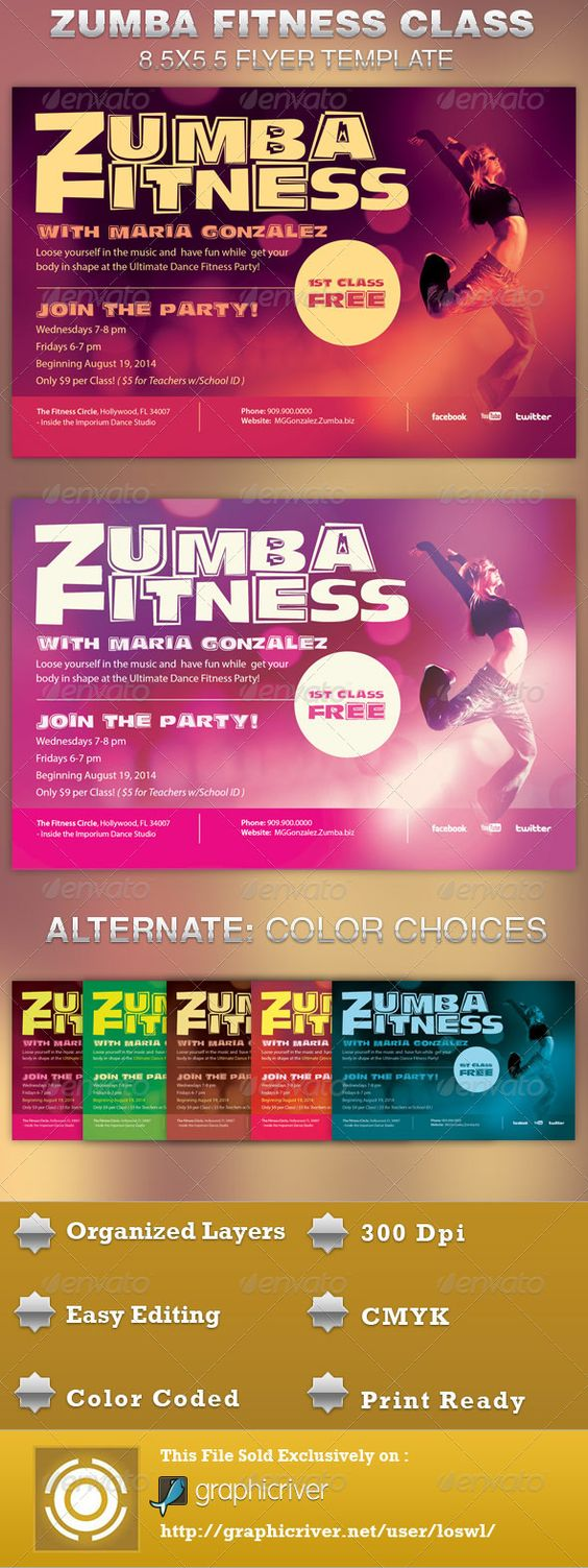 Zumba Fitness Class Flyer Template | Trainers, Zumba and Postcards
