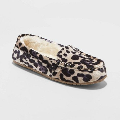 Gemma Leopard Print Moccasin Slipper