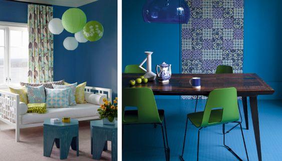 Синий и зеленый цвет в интерьере