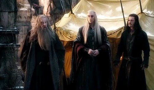 Gandalf warns Thranduil and Bard  the Orcs are on their way. Thranduil refuses to believe him.