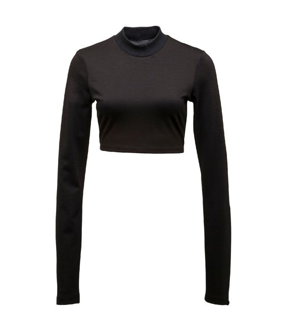 Black Long Sleeve Cropped Neck Top
