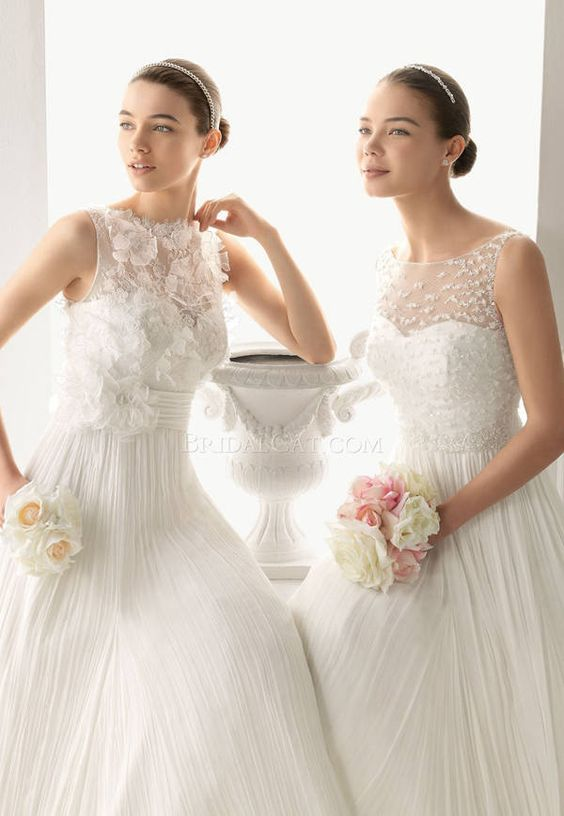 Aire Barcelona 119 Oda Sleeveless Boat Neckline Wedding Dress