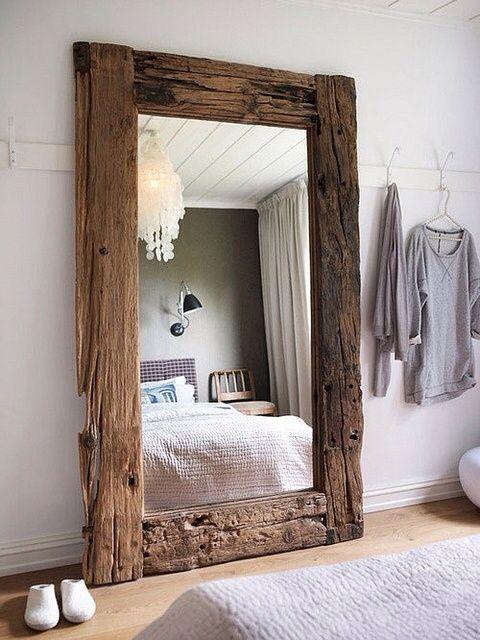Rustic Master Bedroom with Pottery Barn - Oversize Capiz Chandelier, Environment Beam Mirror, Crown molding, Hardwood floors