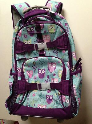 Pottery Barn Kids Mackenzie Turquoise Owl Rolling Backpack