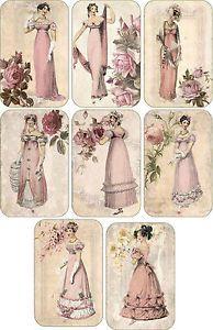 Jane Austen Silhouettes Scrapbooking   ... inspired victorian Jane Austen scrapbooking cards tags set 8 envelopes