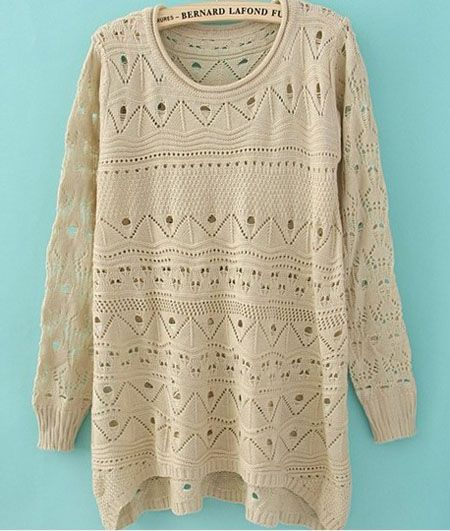 Beige Curved Hum Knit Holey Texture Long Sweater With some freaking leggings and boots. Freaking adorable!! $30.08