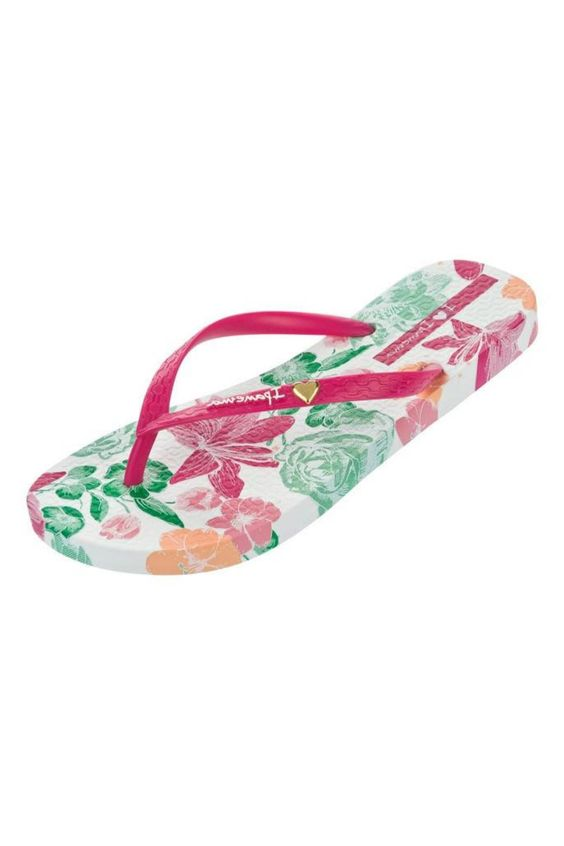 Traditional style flip flop covered in a bold, bright floral print. Water repellent. The slightly thicker sole allows for extra cushioning. Perfect as your everyday summer sandal. Extremely comfy to walk in and wear all day long!   Paraiso Flower by Ipanema. Shoes - Sandals - Flip Flops Canada