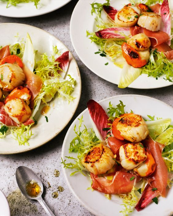 Seared Scallops with Serrano Ham from Rick Stein's Fish & Shellfish. This timeless combination of seafood and cured ham makes a wonderful Christmas Day starter. http://thehappyfoodie.co.uk/recipes/seared-scallops-with-serrano-ham