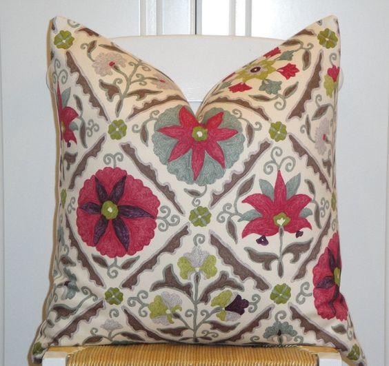 Beautiful Decorative Throw Pillows : Beautiful Decorative Pillow Cover - 20 x 20 - Pink - Magenta - Plum - Sage Green - Grey ...