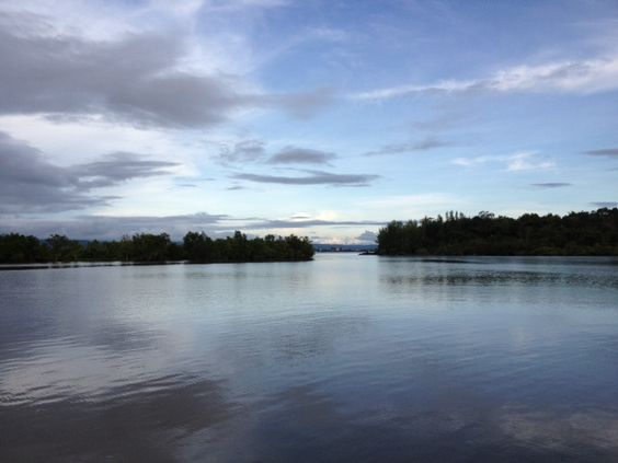 View from Thmorda Garden Riverside Resort overlooking the Kah Bpow River, Koh Kong, Cambodia