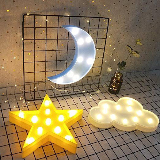 Amazon Com Decorative Led Crescent Moon Cloud And Star Night Lights Lamps Marquee Signs Letters For Baby Nurser Star Night Light Cloud Lights Night Light Lamp