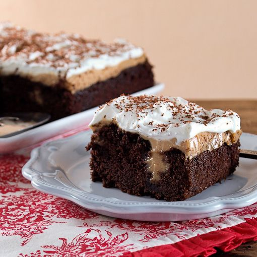 CHOCOLATE PEANUT BUTTER PUDDING POKE CAKE by @Kelly Jaggers