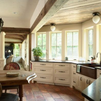 Terra cotta tile floor copper sink exposed beams for Kitchen colors with white cabinets with rouleaux papier peint