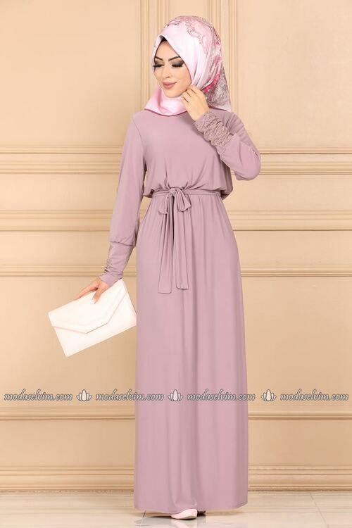 Modaselvim Elbise Manseti Tasli Elbise Ferace 1665 5af356 Lila Elbise The Dress Islami Giyim