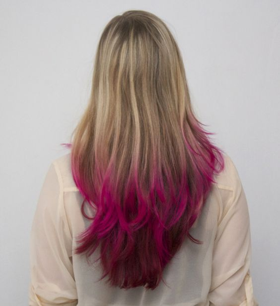 Pink and Purple Tips Dyed---12/17/2012 --- I am loving it!!!