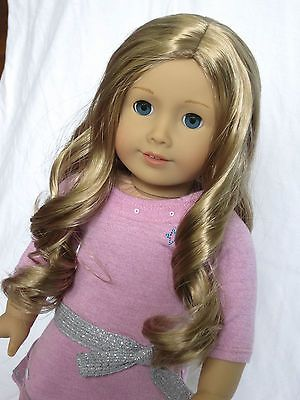 Pretty-Custom-American-Girl-Doll-with-blue-eyes-and-blonde-wavy-Truly-Me-wig # 39 and # 24 wig