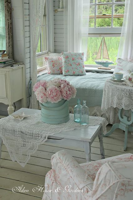 Tad too much lace, but love muted colours and light and washed woodwork Pink Peonies in the Boathouse
