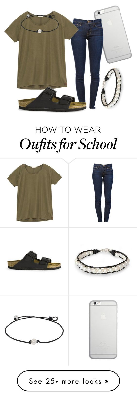 """""""School day 2"""" by kennedy-amber on Polyvore featuring Native Union, Frame Denim, Lee, Birkenstock and NOVICA"""