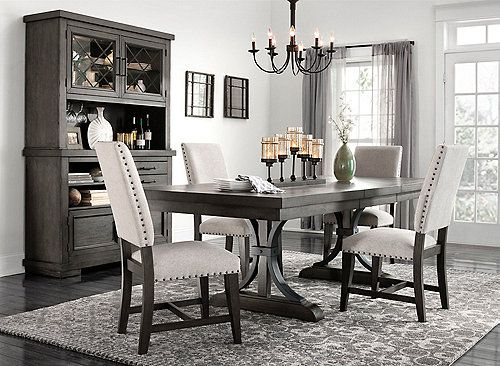 Halloway 5 Pc Dining Set Dining Room Furniture Gray Dining