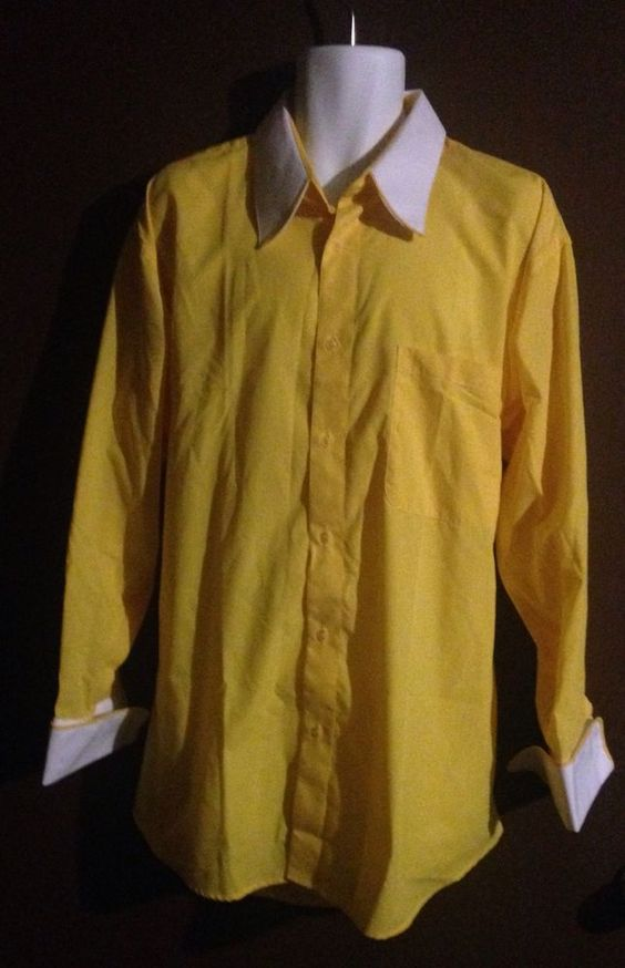 Biani Of Italy Mens Yellow Dress Shirt Size 2XL #BianiOfItaly