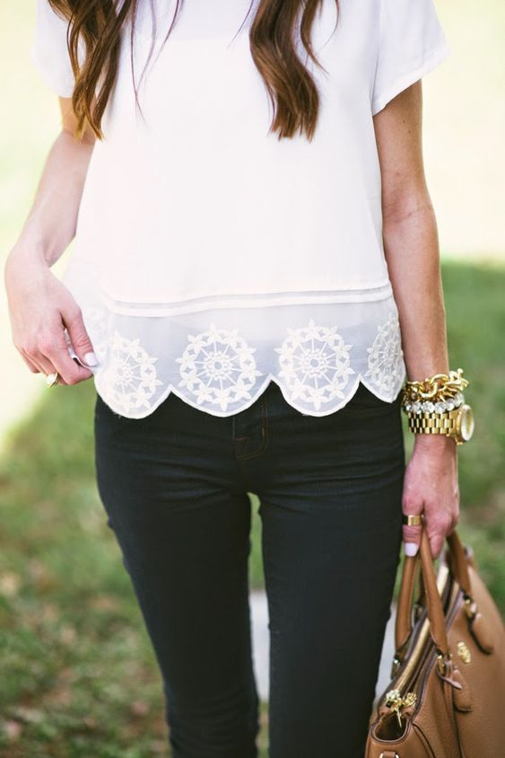cute and casual outfit. I love the scalloped hem on the shirt.: