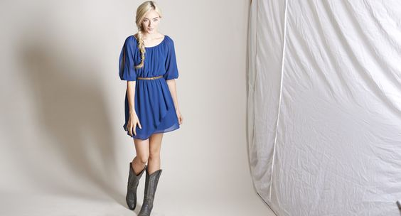 Mason & Belle - Belted Peasant Dress