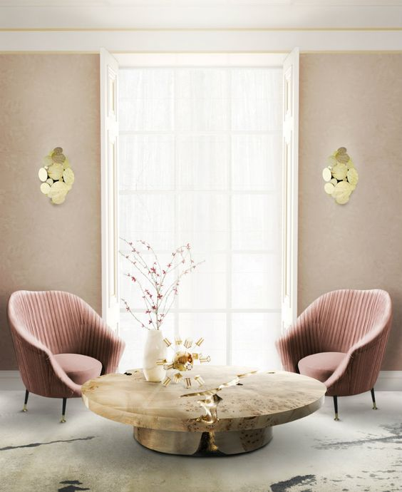 Center table, Pink chairs and Living rooms on Pinterest