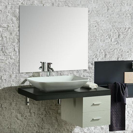 Mobile bagno 100cm mensola con 2 cassetti e lavabo Mobili