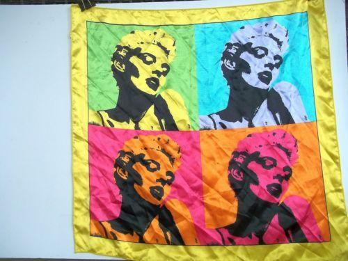 Andy-Warhol-Pop-Art-Four-Panel-Marilyn-Monroe-Scarf-20-Inch-51-cm