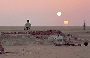 DID YOU KNOW?: the illusion of a double sunset is possible (on earth) with the reflection of the sun in clouds?  Also, a planet with 2 suns does actually exist!  I wonder if Luke Skywalker lives there...