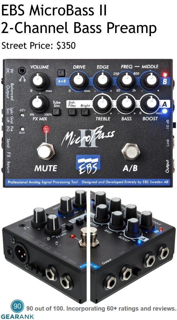 Ebs Microbass Ii 2 Channel Bass Preamp Di Pedal Preamp 2 Channel Solidstate Preamp Controls Channel Switch Volume F Bass Acoustic Electric Bass Guitar