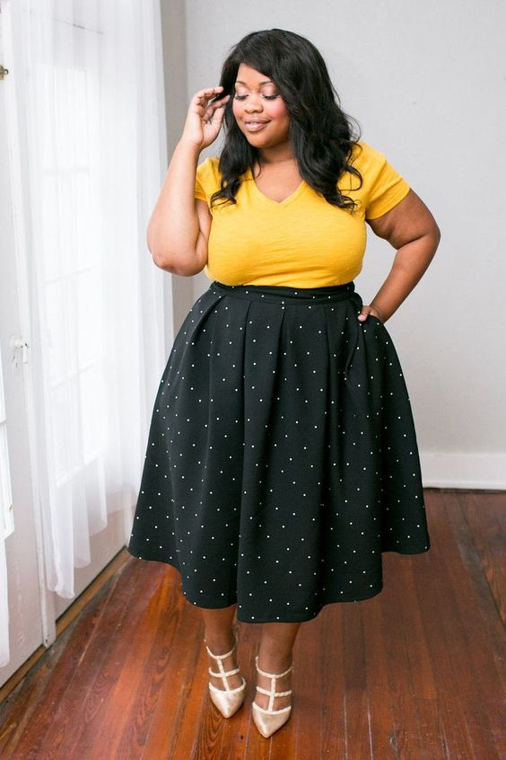 Plus Size Clothing for Women - The Kate Midington - Black Polka-Dot - Society…