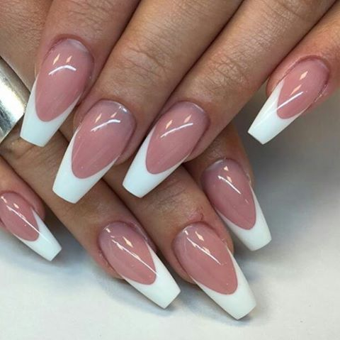 34 Luxury Coffin French Tip Nail Designs French Tip Nail Designs White Tip Acrylic Nails Work Nails