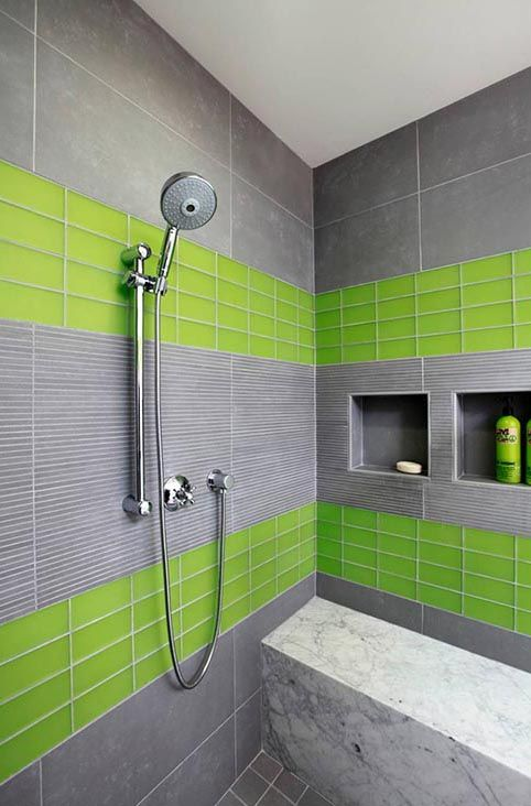 love this mixture of lime green glass with flat gray. Leslie Lamarre, CKD,