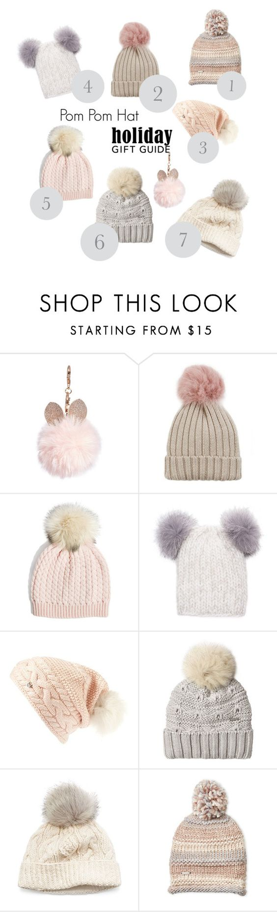 """""""Pom Pom Hat"""" by jurgat ❤ liked on Polyvore featuring GUESS, Jocelyn, Eugenia Kim, UGG, Woolrich, SIJJL and Steve Madden"""