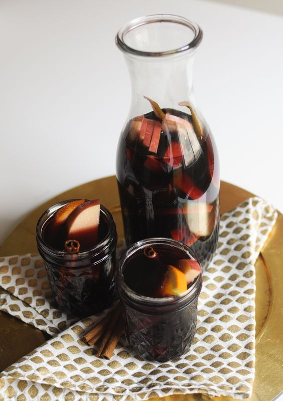Holiday Sangria: 1 bottle malbec wine (or another full bodied red)-  1/2 cup bourbon whisky-  1/2 cup pure apple juice-  1/2 apple, sliced-  1//2 orange, sliced- 1 plum, sliced (look for a juicy ripe one)- 1/2 pear, sliced  (look for a juicy ripe one)- 1 cinnamon stick.  Cut all your fruit in equal sizes slices and drop into the bottom of a pitcher or glass jug. Add a cinnamon stick. Add rest, stir. Cover and chill. Serve cold or room temp.  Garnish with cinnamon sticks.