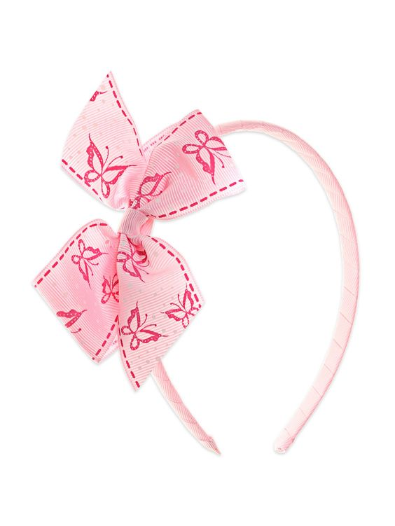 Baby Pink Hairband With Butterfly Print Bow